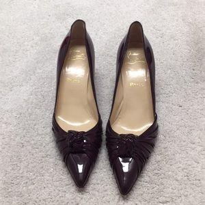 Christian Louboutin burgundy kitten heel pumps